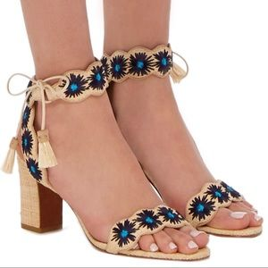 NWOT Ollie Embroidered Raffia Sandals